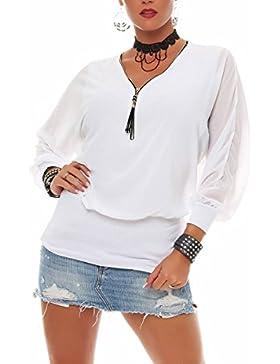 malito Blusa con Ziper 3/4 Túnica Parte Superior Top Obersized Zipper 6297 Mujer Talla Única