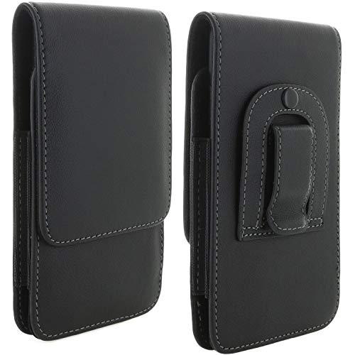 XiRRiX Handy Leder Gürteltasche 8.1 mit Stahlclip 3XL / Tasche passend für Huawei Honor P10 P20 Lite/Samsung Galaxy A5 A6 J3 J5 2017 / Handytasche schwarz