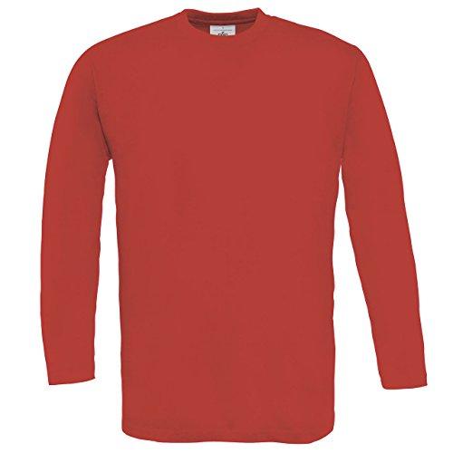 B & C Exact 150langärmelige T-Shirt Herren Casual Wear, Rundhalsausschnitt, einfarbig, Tees/Top Rot - Rot