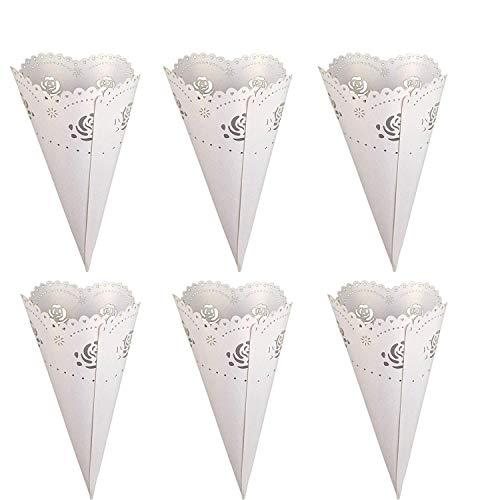 Tomkity coni portariso riso petali festa matrimonio portaconfetti portariso perlato (rose-50pezzi)