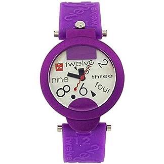 Tiempo de Mensa Kool analógica de color púrpura de la correa de la manera de las señoras reloj de silicona KT60