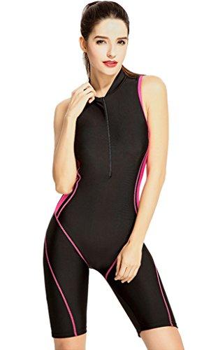 Hungo Damen Badeanzug mit Längerem Bein Einteiler Bademode mit UV Schutz Boyleg Schwimmanzug Swimsuit mit Shorts