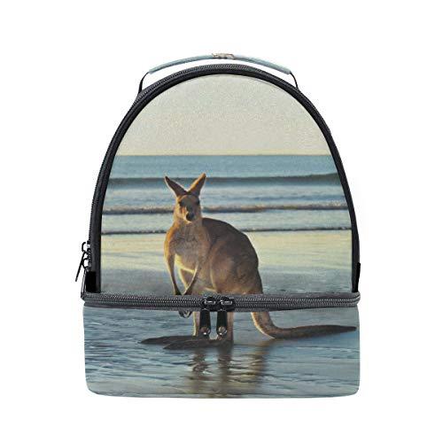 Outback Cross Body (Sorglos Känguru Tier Tragbare Schule Schulter Tote Lunchpaket Handtasche Kinder Doppel Lunchbox Wiederverwendbare Isolierte Kühler Für Frauen Student Travel Outdoor)