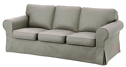 Solo copertine! Il divano non è incluso! Ektorp 3 sedia di ricambio della copertura del cotone divano è su misura Fodera per IKEA Ektorp Sofa Cover Grigio chiaro cotone resistente