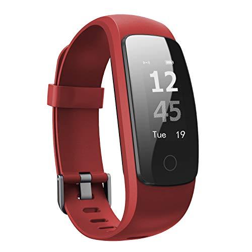 Pulsera Actividad inteligente, Ausun 107 HR Plus Pulsómetro Impermeable IP67, Sueño, Podómetro Monitor de Calorías, GPS para Correr, Guía de Respiración, Bluetooth 4.0 para iOS y Android, rojo