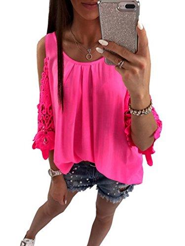 ant Sommer Rundausschnitt T-Shirt Tops Aus der Schulter Tops Oberteile Kurzärmelig (Neon Rose Rot, XL) ()