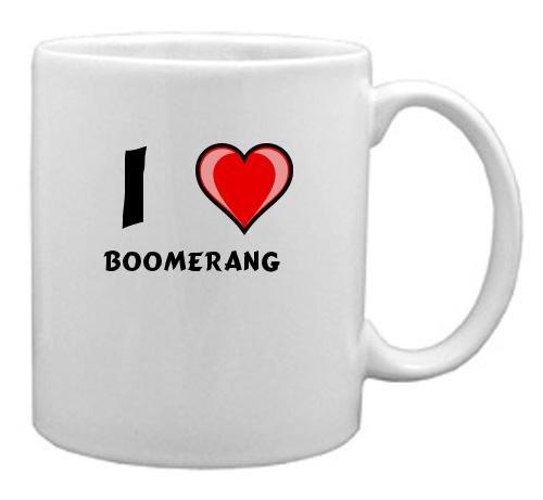 Keramische Tasse mit Aufschrift Ich liebe Boomerang (Vorname/Zuname/Spitzname)