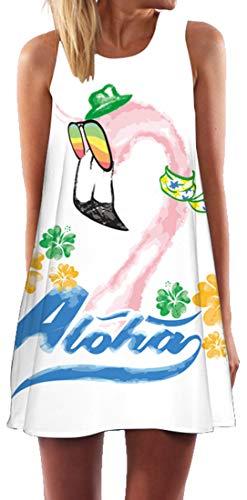 Ocean Plus Damen Casual Top Freizeit Flamingo Blätter Sommer Ärmellos Kleider Ohne Arm Westenkleid Partykleid Sommerkleid Minikleid Strandkleid (M (EU 36-38), Regenbogen Sonnenbrille Flamingo)