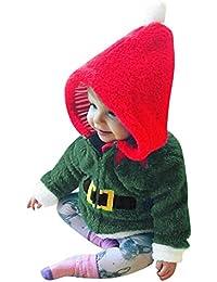 Weihnachts XMAS Fleece Pullover Säugling Baby Jungen Mädchen Kapuzen Tops Outfits