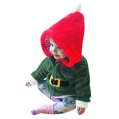 YanHoo Vellón navideño de Manga Larga para niños y Top con Capucha de Terciopelo Infant Baby Boys Girls Christmas Fleece Hooded Tops Abrigo Trajes Trajes