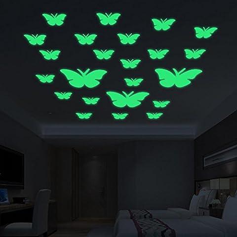 Bovake 12PC kreativer leuchtender Schmetterlings-Haut-Wand-Aufkleber Dekoratives Glühen in der dunklen Kunst
