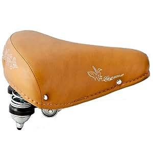 SELLE VILLE DE VÈLO FEMME HOMME CUIR VINTAGE RETRO LOOK - DOUBLE SUPSPENSION CONFORT - pour Vélos de Ville Beach Cruiser Hollandais - LAGUNA brun clair (braun) - Made in Italy