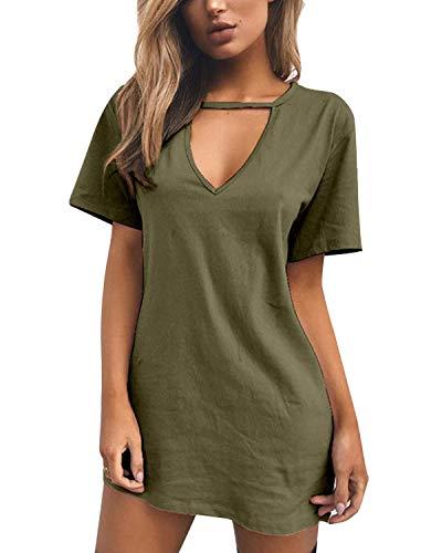 YOINS Sommerkleid Damen Shirtkleider Partykleid T-Shirt V-Ausschnitt Tunika Kurzarm Lose Einfarbig