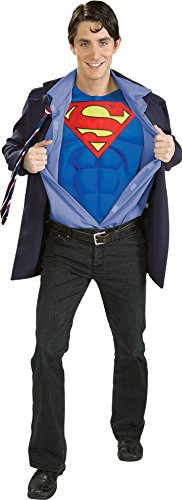 (Clark Kent Mens Costume and Glasses Superman Adult Superhero Fancy Dress Outfit)
