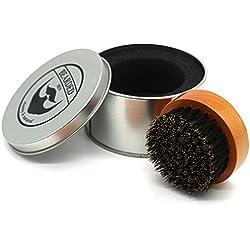 BEARDED BEN Cepillo de la Barba con cerdas de jabalí y Caja de Almacenamiento de Alta Calidad para el Cuidado Profesional de la Barba, Teca Brown, diámetro: 6.3 cm
