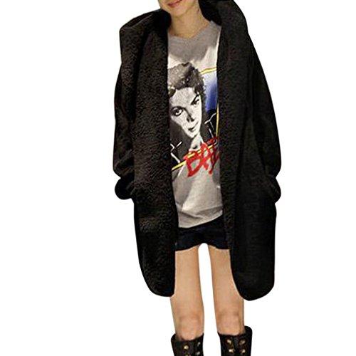 Xinan Mantel Damen Strickjacke Kapuzenpullover Hoodie Winter Warm warm Hooded Pelz Fleece Poncho Jacke Oberbekleidung Outwear (Schwarz, Freie Größe) (Cashmere-fleece-shirt)