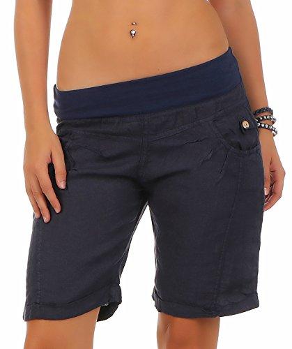 malito Damen Bermuda aus Leinen | lässige kurze Hose | Shorts für den Strand | Pants - Hotpants 3001 (dunkelblau, 3XL)