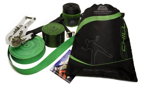 Mountain Equipment Slackline Set, 15 m lang, 4 cm breit + Baumschutz