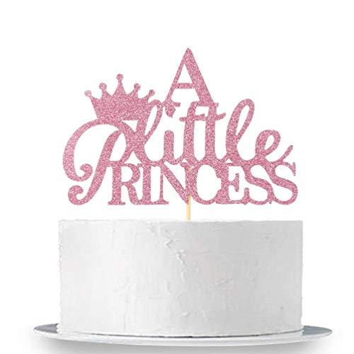 (innoru eine kleine Prinzessin Cake Topper, Sweet Baby Dusche Geburtstag Party Princess Krone Dekorationen supplies-pink Glitzer)