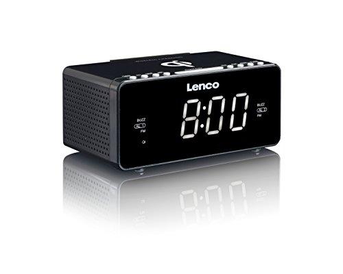 Lenco CR-550 - Clock Radio - Smartphone charging via USB - Wireless - Schwarz
