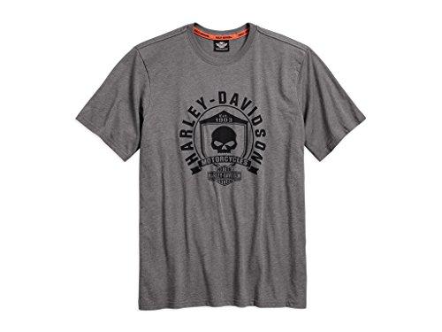 T-shirt Davidson Harley Skull (Harley-Davidson Men's Skull Shield Graphic Tee T-Shirt, 99032-17VM, L)