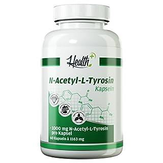 HEALTH+ N-Acetyl-L-Tyrosin - 60 Kapseln je 1000 mg reines Tyrosin, hochdosierter essentieller Baustoff für Schilddrüsenhormone, ohne Zusätze - MADE IN GERMANY