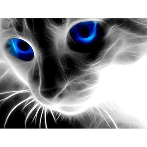 Ukerdo DIY Ojos Azul Perspectiva Gato Diamante Pintura Pared Cuadros para Cuarto
