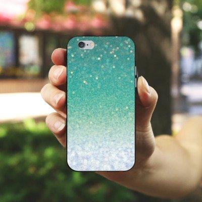 Apple iPhone X Silikon Hülle Case Schutzhülle Glitzer Grün Glitter Silikon Case schwarz / weiß