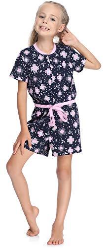 Merry Style Mädchen Overall Short Schlafstrampler Strampelanzug MS10-267(Marine/Blumen, 158-164) -