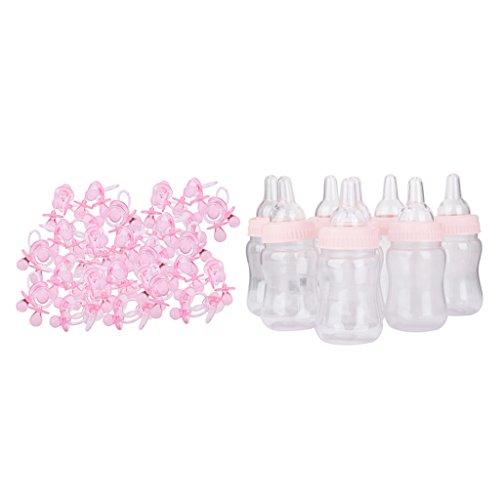 Baoblaze 144pcs Transparente Mini Sucette + 12pcs Mignon Biberons Accessoire Décoratif Fête D'anniversaire Bébé Baptême - Rose
