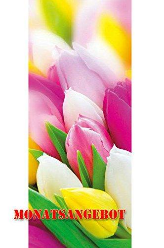Textilbanner für Schaufenster - Thema: Frühjahr/Ostern - Bunte Tulpen/Tulpenbild - 180cmx75cm - Inklusive Bannerstäbe & Aufhänger - Banner zum Hängen & Dekorieren