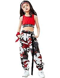 LOLANTA 2 Piezas Niñas Hip Hop Street Dance Ropa Individual Juego Crop Tank Top + Camuflaje Pantalones Basculador