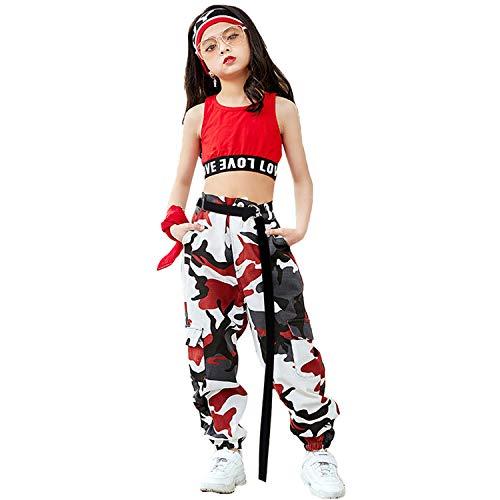 Mädchen Hip Hop Street Dance Kleidung Set Jazz Dancewear Tank Top + Camouflage Pants Kind Jazz-pant