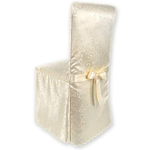 Rivestimento della sedia gräfenstayn® sofia con motivo jacquard e archetto integrato - diversi colori per schienali rotondi e quadrati vestibilità universale con oeko-tex standard 100 (crema)