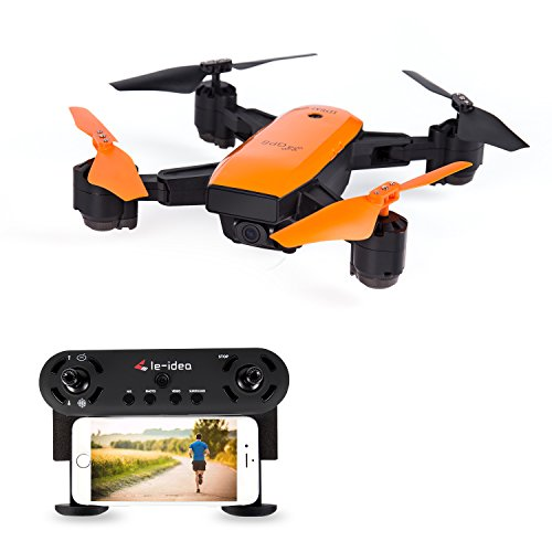 le-idea IDEA7 GPS Faltbar 720x HD Camera Fov 120 °Wifi FPV Follow Me Drohne mit Map Location , Karte Lage,GPS rückkehr Haus ,Auto Umgeben Orange Color