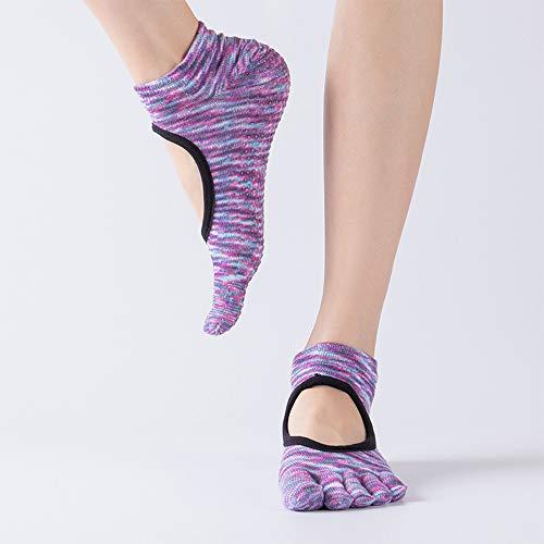CAMORNY Yoga Socken Damen rutschfeste Fitness Socken Fünf Zehen Socken Ballett Pilates Sport Tanz Schwangere Frauen Socken Hausschuhe Socken Trampolin Baumwolle Sportsocken 4 Paar,c - Greifer Zehen-socken