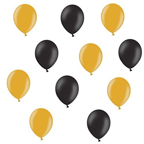 lons je 25 Schwarz und Gold metallic - ca. Ø 28cm - 50 Stück - EU WARE nach EN 71 - Ballons als Deko, Party, Silvester Happy New Year Karneval Fasching - für Helium geeignet - twist4® (Luftballons Metallic Gold)