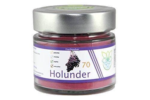 VITARAGNA Holunder Fruchtpulver 70, Qualitätsprodukt mit reinem Holunder-Fruchtextrakt, Holunderbeer-Extrakt, ohne Zusätze, vegan, clean, glutenfrei, sojafrei, milchfrei, zuckerfrei