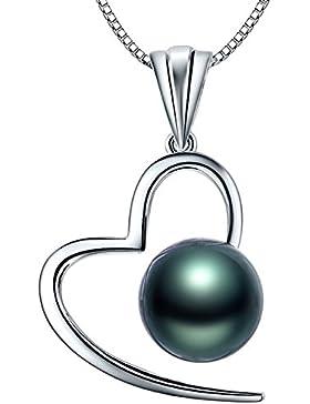 MARENJA Perlen-Damen Kette mit Anhänger Herz 925 Sterling Silber tahitianischen Perlen schwarz tahiti perlenkette...