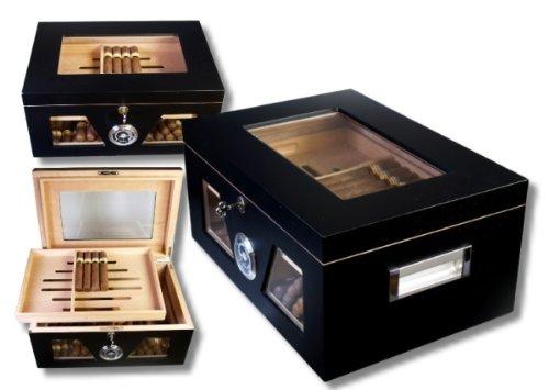 Black Wonderful V-1320 - Caja para humedecer los puros con ventana de