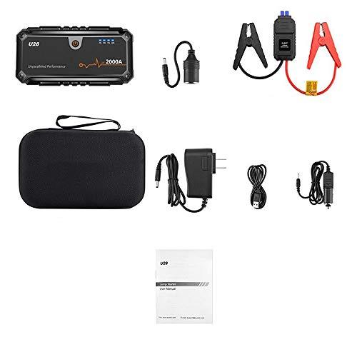 2000 Ampere 16000mAh 12V tragbarer Autostarter - (bis zu 8,0 l Gas-Dieselmotor) - 2 USB-Batterie-Booster und Telefon-Ladegerät mit intelligentem Ladeanschluss