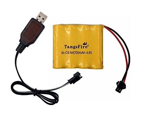 TangsFire 4,8 V 700 mAh AA NI-Cd Packs SM 2P Stecker für Spielzeug Energienbank + Ladegerät Nicd-pack