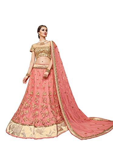 crazy bachat Indian Designer Bridal Pastel Pink Color Net Semi Stitched Lehenga Choli