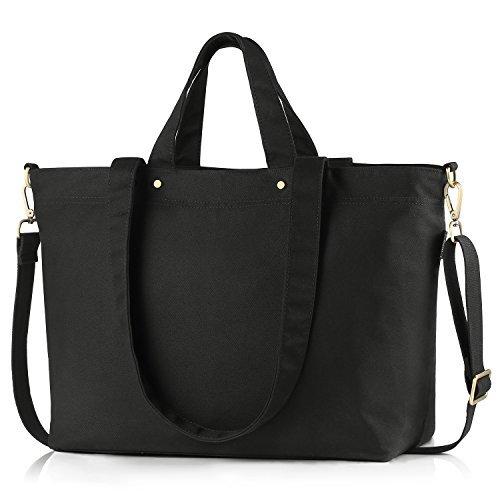 BONTHEE Canvas Handtasche Damen Große Shopper Tasche mit 13,5 Zoll Laptopfach für Schule Reisen Arbeit - Schwarz