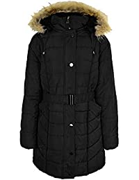 2f7aec82bd4 Fashion Thirsty Ladies Womens Plus Size Fur Hooded Winter Coat Quilted  Padded Puffa Parka Jacket