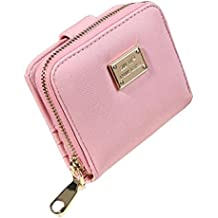 Sannysis mujer cremallera bolsillo moneda monedero cartera tarjeta crédito (Rosa)