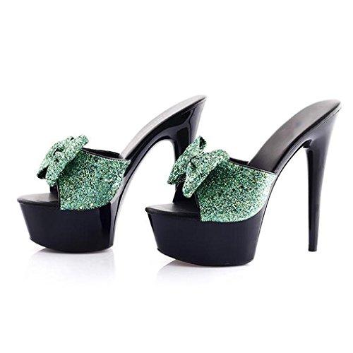 W&LMsandali Scarpe Piattaforma impermeabile sandali Tacchi alti Ciabatte infradito Spessore inferiore All'aperto Scarpa 15 centimetri Posto di lavoro Sala da ballo C