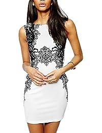 Printed Bodycon Day Dress- White