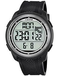 Reloj digital unisex con pantalla digital LCD con esfera y extensible de plástico de color negro K5704/8 de Calypso