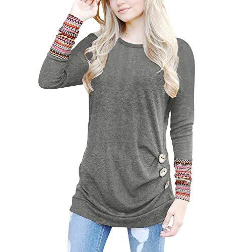 Damen Frauen Teenager Mädchen Langarmshirt MYMYG Lose Knopfleiste Bluse Solid Rundhals Tunika T-Shirt Pullover Streetwear Herbst Winter Top Bluse Shirt (B3-Grau,EU:42/CN-2XL)